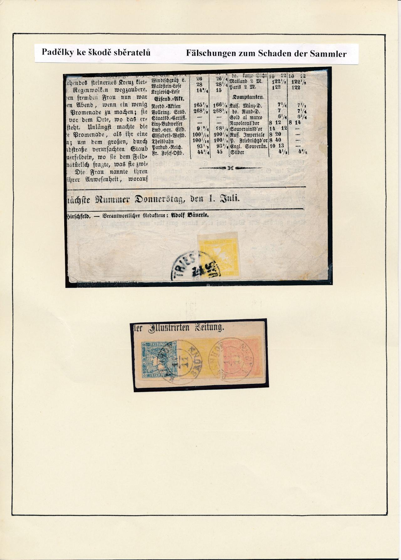 Philatelistisches Exponat: ÖSTERREICH: ZEITUNGSMARKEN 1851-1890