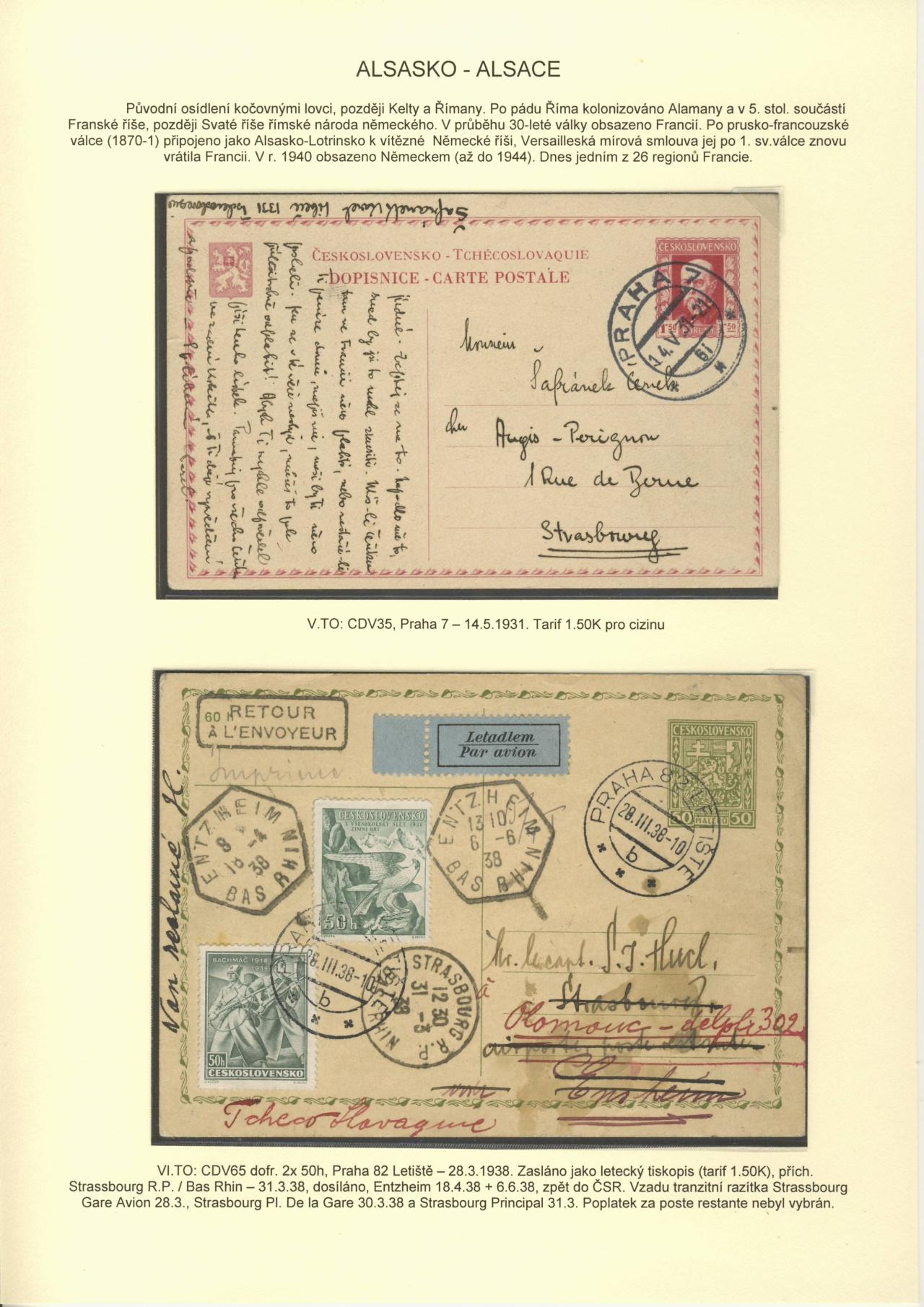 Philatelistisches Exponat: TSCHECHOSLOWAKEI 1918-39: INS ALLEN ECKEN ...