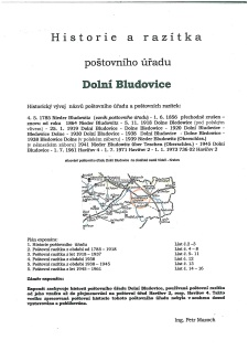 HISTORY AND POSTMARKS OF THE POST OFFICE DOLNI BLUDOVICE