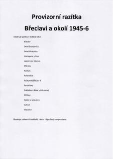 VORLÄUFIGE STEMPELN VON BŘECLAV (LUNDENBURG) UND UMGEBUNG 1945-6