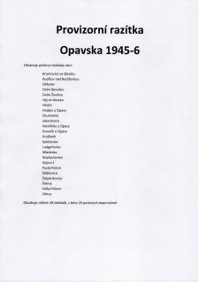 VORLÄUFIGE STEMPELN DER OPAVA (TROPPAU) REGION 1945-6