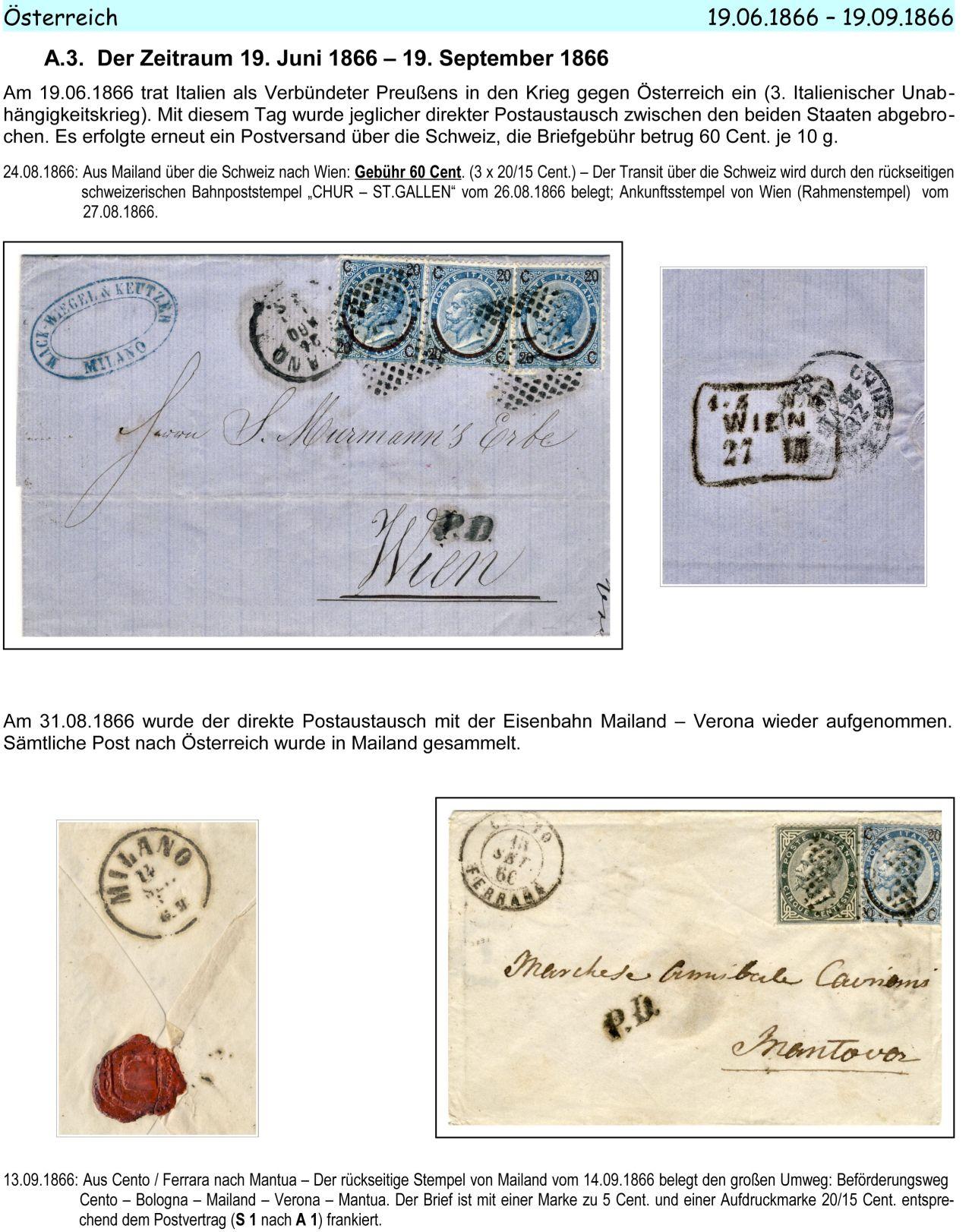 Philatelic Exhibit Italy 1861 1875 Letters To Austria Germany And