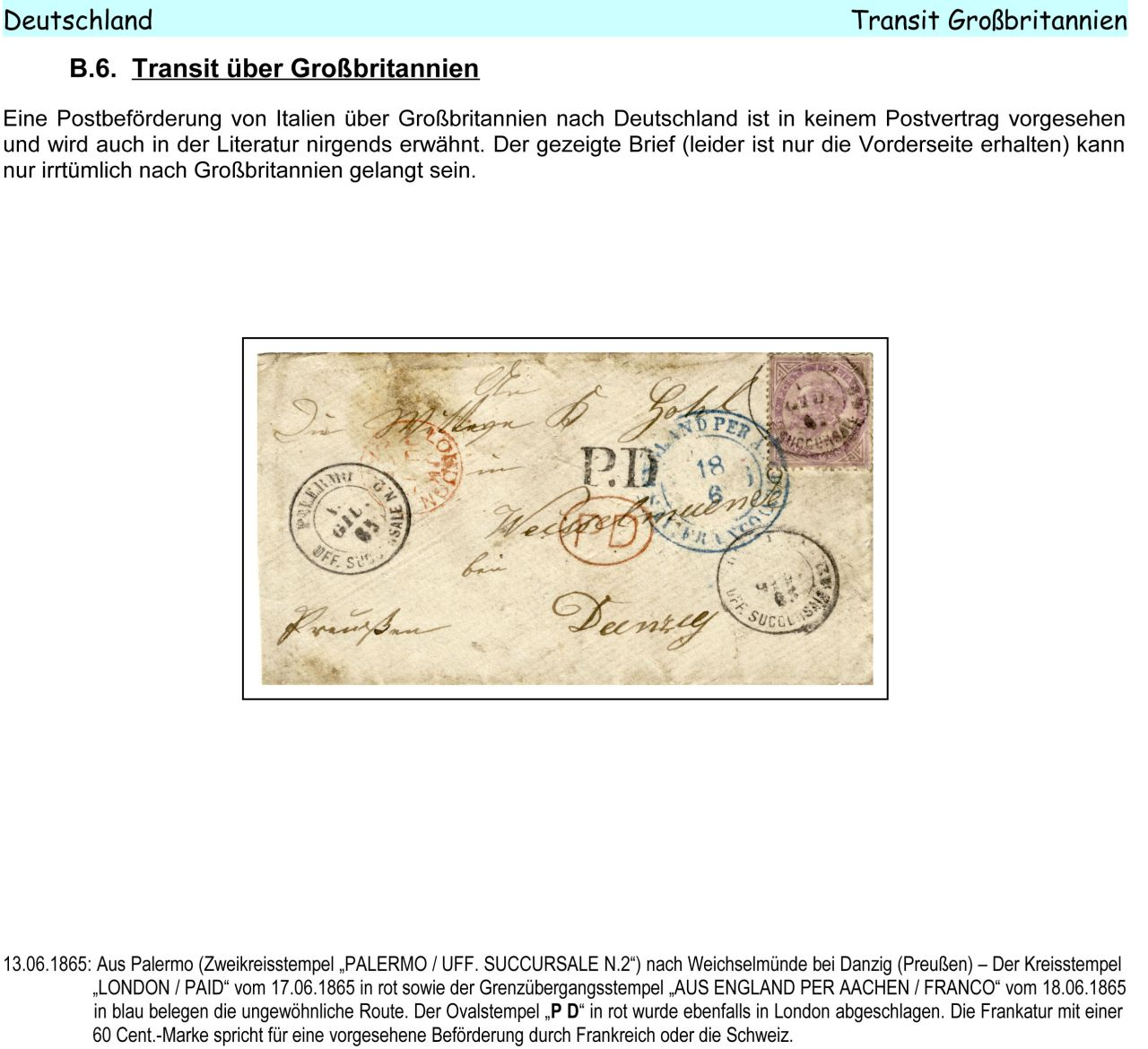 Philatelic Exhibit Italy 1861 1875 Letters To Austria Germany And