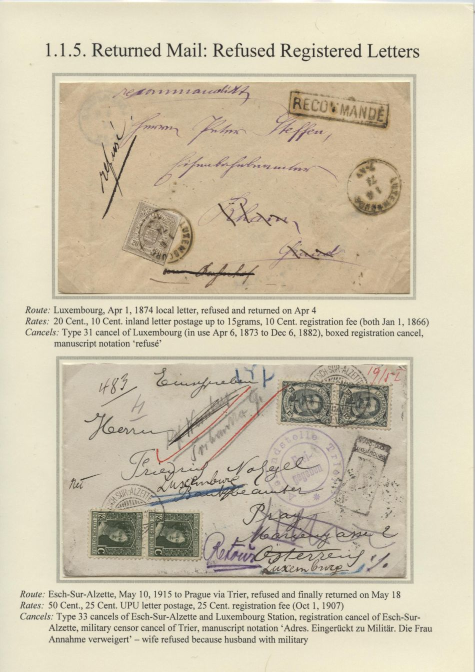 Philatelic exhibit: RETOUR - PARTI - INCONNU
