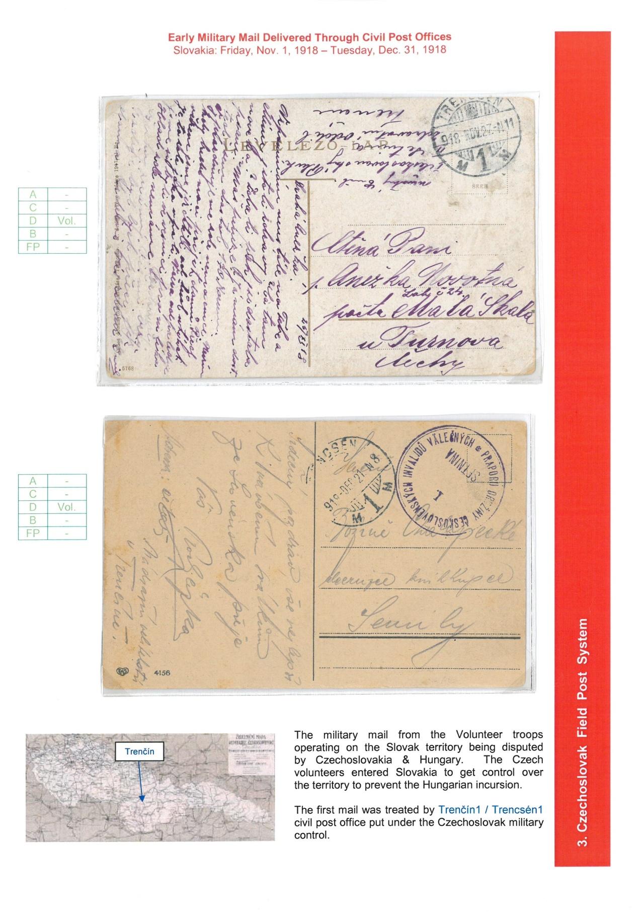 Philatelic exhibit: FIELD POST SYSTEMS ON CZECHOSLOVAK