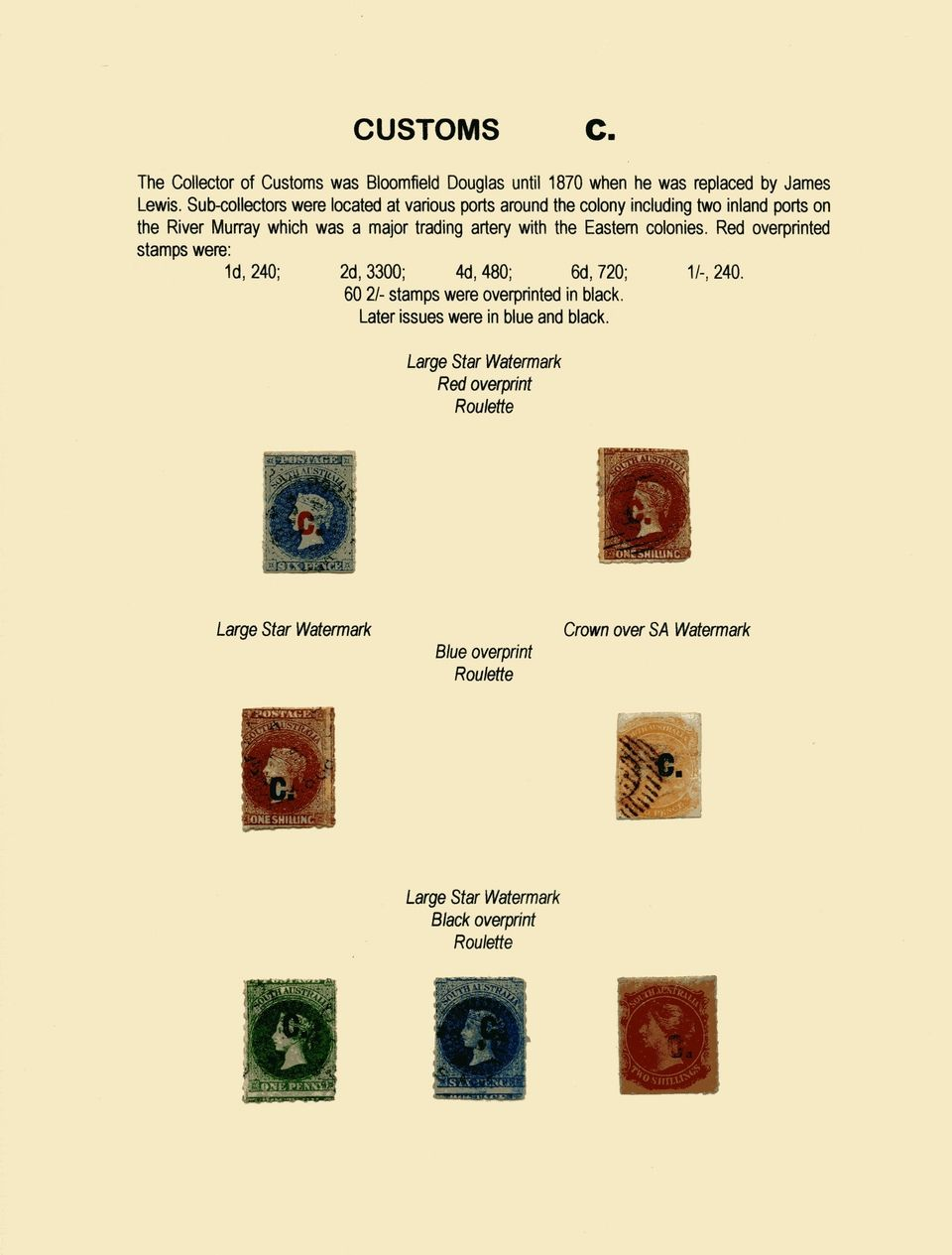 Philatelic exhibit: THE DEPARTMENTAL STAMPS OF SOUTH