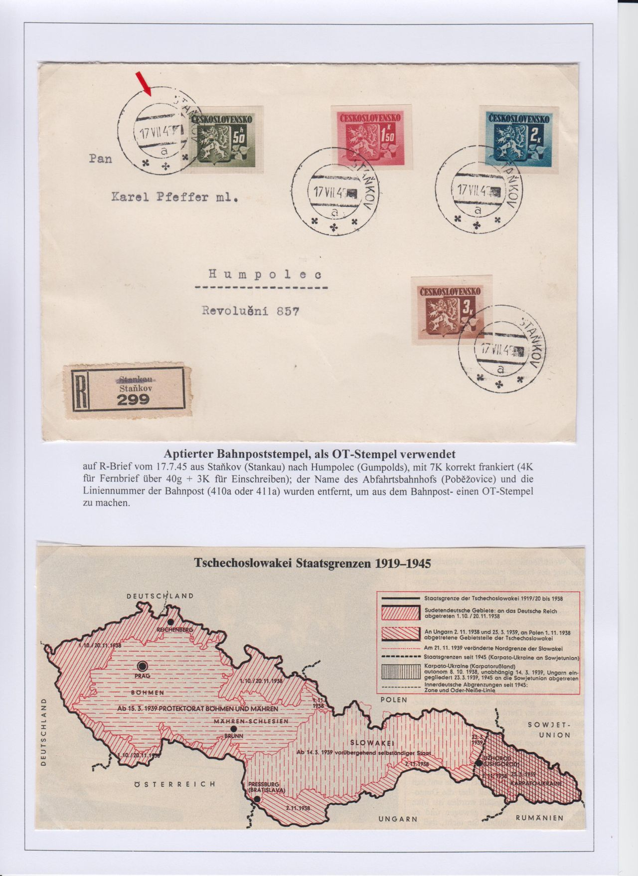 Philatelic Exhibit Postmarks In Bohemia And Moravia During The