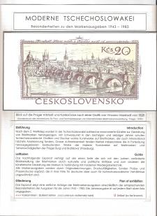 MODERNE TSCHECHOSLOWAKEI, BESONDERHEITEN ZU DEN MARKENAUSGABEN 1943-1983